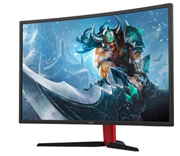 HKC G27 - NB27C2, 27 Zoll (80cm) LED Gaming Monitor, Curved 1800R, 144Hz, Full-HD 1920x1080, (16:9, 300cd/m2, 3000:1, DisplayPort, HDMI, DVI, Freesync, Low-Blue light), schwarz/rot -